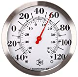 MIKSUS 12' Stainless Steel Wall Thermometer, Large Wall Thermometer Indoor Outdoor for Garden, Pool, Kitchen, Patio, Wall and Room Decorative Silver