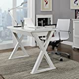 WE Furniture 48' Storage L Shaped Modern Computer Desk for Home Office, White Contemporary Reclaimed Look