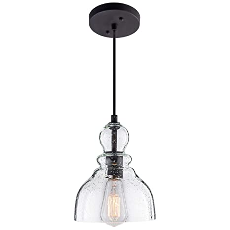 Lanros Industrial Mini Pendant Lighting With Handblown Clear Seeded Glass Shade Adjustable Edison Farmhouse Kitchen