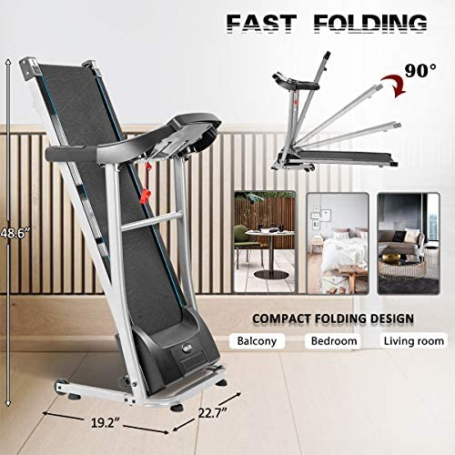 Merax Folding Electric Treadmill Motorized Running Machine Easy Assembly Electric Treadmills for Home, Motorized Fitness Compact Running Equipment with LCD for Home 7
