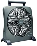 O2COOL 10-Inch Portable Smart Power Fan with AC Adapter & USB Charging Port, 8-D Battery Fan, Cell Phone Charging Fan, 10-Inch Compact Portable Battery Fan, Smart Power, Pivoting Fan Head