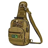 Huntvp Tactical Military Sling Chest Daypack Laptop Backpack For Hunting, Camping and Trekking - Dark Brown