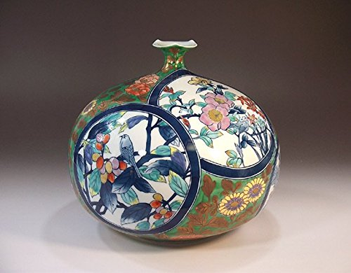 Arita , Imari porcelain vases   traditional crafts   Somenishiki Aya Kon arabesque split Hanae   potter Fujii NishikiAya