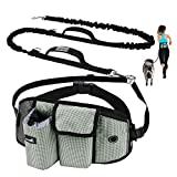 Pecute Hands-Free Dog Leash with Pouch, Comfortable Shock Absorbing Bungee Dog Waist Leash for Running Walking & Jogging, Great for Medium & Large Dogs up to 220lbs, Dual Handle