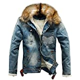 GOVOW 2018 Clothes Denim Jacket Plus Size for Men Big and Tall Autumn Winter Casual Coat(US:8/CN:L,Blue)