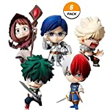 Elibeauty 6 Pack My Hero Academia Mini PVC Figure, Izuku Midoriya Katsuki Bakugou Todoroki Shoto Ochaco Uraraka Tenya LIDA Collectible Action Figure for Anime-Fans