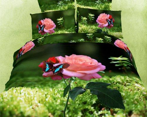 Dolce Mela DM440K Butterfly Rose 6-Piece Cotton Duvet Cover Set, King