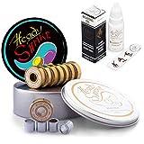 Heady Shake Pro Skateboard Bearings - Fastest Premium 608rs Titanium - Longboard, Skate Board, Kick Scooter, Inline and Roller Skates, 8-Pack (Jackpot Set + Speed Oil)