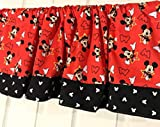 Red and Black Mickey Mouse Head Curtain Valance