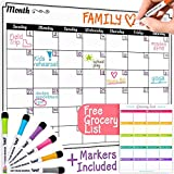 Dry Erase Monthly Calendar Set - Large Magnetic White Board & Grocery List Organizer for Kitchen Refrigerator (Horizontal)