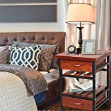 Dporticus Rolling Square Side End Table with Drawers Bedroom Night Stand Cabinet Organizer Unit for Living Room - Walnut