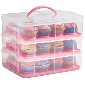 VonShef 36 Cupcake Muffin Carrier with Handle – Stackable Caddy – 3 Tier Plastic Cake Holder – Snap and Stack Design, Pink 51q5B46Z4tL