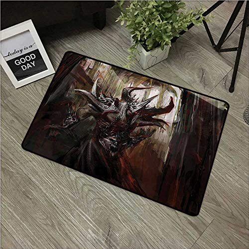 Anzhutwelve Fantasy World,Kitchen Floor mats Armored Evil Monster in Cathedral Apocalyptic Imaginary Knight Character Print W 20' x L 31' Custom Door mats Red Grey