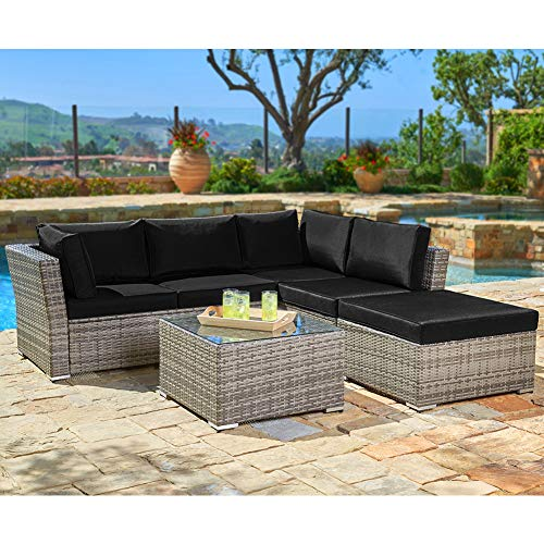 SUNCROWN Outdoor Furniture (4-Piece Set) All-Weather Sectional Sofa Grey Checkered Wicker w/Black Washable Cushions & Glass Coffee Table   Patio, Backyard, Pool   Waterproof Cover