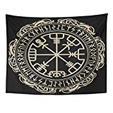 VaryHome Tapestry Black Celtic Viking Design Magical Runic Compass Vegvisir in the Circle of Norse Runes and Dragons Tattoo Home Decor Wall Hanging for Living Room Bedroom Dorm 60x80 Inches