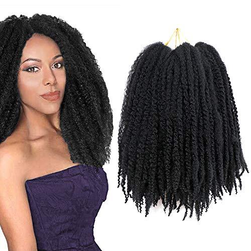 fani 4 Packs Afro kinky Braids Hair Marley Braiding Hair Crochet Hair Soft Synthetic 20 Inch Hair Extensions Twist Black Hair Synthetic Hair
