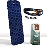Ultralight Sleeping Pad by Chameleon: Durable, Comfortable Easy Inflatable Backpack Mat - Camping Mattress – Compact Lightweight Thick Sea Outdoor Tent Airbed - Travel Hiking Bed Bag – Free Torch