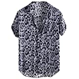 JJLIKER Men's Hipster Short Sleeve Shirts Leopard Print Button Down Casual Tees Shirts Beach Hawaiian Shirt with Pockets Black