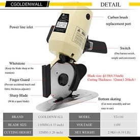 CGOLDENWALL-YJ-110-Industrial-Electric-Fabric-Cutter-Cloth-Cutting-Machine-32mm-Maximum-Cutting-Thickness-110mm-Blade-Size-Ideal-for-Multi-Layer-Cloth-Textiles-Paper-Leather-Rubber-Curtain-and-Carpet