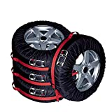AutoCare Tire Bags & Seasonal Storage Tote Spare Tire Covers, Waterproof & Sun Protectors - Pack of 4 Red,Fits 13' to 16' Tire Diameter(S)