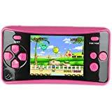 HigoKids Handheld Game Console for Kids Portable Retro Video Game Player Built-in 182 Classic Games 2.5 inches LCD Screen Family Recreation Arcade Gaming System Birthday Present for Children-Rose Red
