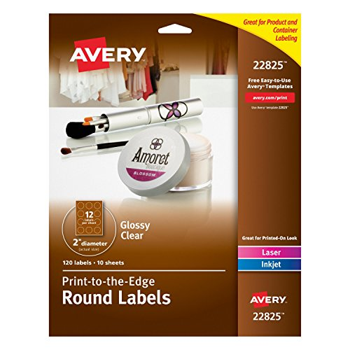 Avery Easy Peel Print-to-the-Edge Glossy Clear Round Labels, 2