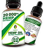 Hemp Oil Drops 20000mg, 100% Natural Extract, Supports Anti-Anxiety and Stress Health, All Natural Dietary Supplement, Rich in Omega 3 & 6 Fatty Acids for Skin & Heart Health,Vegan Vegetarian Friendly