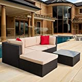 5 Pieces Patio Furniture Sectional Set Outdoor All-Weather PE Rattan Wicker Lawn Conversation Sets Cushioned...