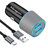 Meagoes Fast Car Charger, Compatible for Samsung Note 9/Note 8, Galaxy S10 Plus/S10/S10e/S9 Plus/S9/S8+/S8, LG V40 ThinQ, Dual Quick Charge 3.0 Port, Rapid Charging Car Adapter with 3.3ft USB C Cable