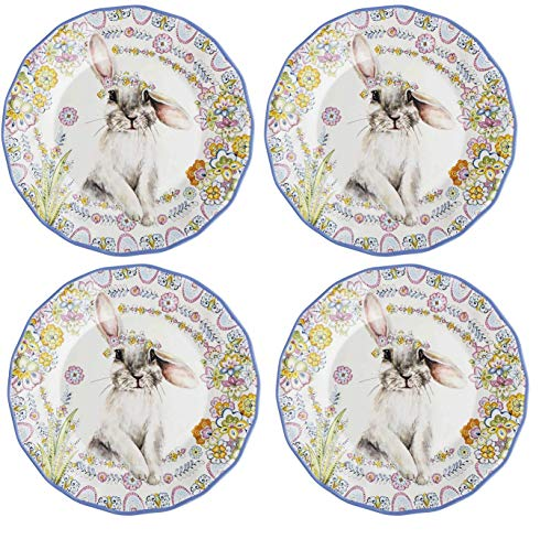 Northeast-Home-Goods-Floral-Easter-Bunny-Heavyweight-Scalloped-Melamine-Dinner-Plates-Set-of-4
