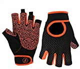 MOREOK Gym Fitness Glove for Dynamic Cycling,Dumbbells Training, Weightlifting Sports Wrist Supports for Weight Training,Bodybuilding Equipment Indoor & Outdoor Sports Exercise Gloves (Orange, XL)