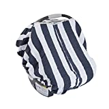 Little Unicorn Cotton Muslin Car Seat Canopy - Navy Stripe