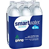 smartwater vapor distilled premium water bottles, 1 Liter, 6 Pack
