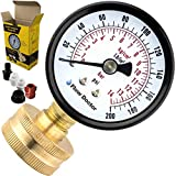 Flow Doctor Water Pressure Gauge Kit, All Purpose, 6 Parts Kit, 0 To 200 Psi, 0 To 14 Bars, Standard 3/4' Female Garden Hose Thread Plus 5 Adapters To Test in Multiple Locations Indoors and Outdoors