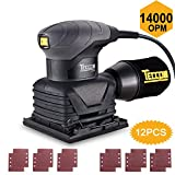 Sheet Sander, TECCPO 1/4' 2.0 Amp/14,000 OPM Sheet Orbital Sander & 12 Pcs Sandpapers, Palm Size with Dust Collection Bag, for Removing Paint, Polishing, Sanding Down & Finishing Wood -TASS22P