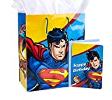 "Hallmark 13"" Large Superhero Gift Bag with Birthday Card and Tissue Paper (Superman)"