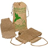 DeLaine's Exfoliating Back and Body Scrubber - Natural Hemp - Luxurious Healthy Skin Care for Women and Men - Very Hygienic and Durable to Last a Long Time - Machine Wash and Dry- Large Mitt Bonus