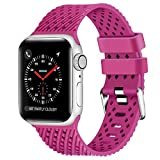 Lwsengme Compatible with Apple Watch Band (S/M M/L),Choose Color,Soft Rubber Replacement Sport Wristbands Compatible with Apple Watch Series 4/3/2/1(38mm/40mm-Color 06-Large)