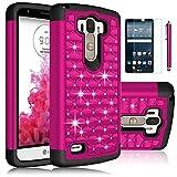 LG G Stylo Case,EC Hybrid Studded Rhinestone Crystal Bling Armor Case Cover for LG G4 Stylus /LG LS770 / LG G Stylo (T-Mobile/Boost Mobile/Sprint) (Hot Pink)