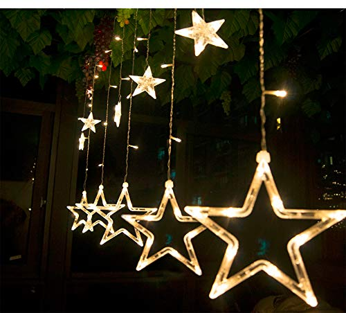 51qVqa1DbwL - Home Solution's -Star Light Curtain Decorations (12 Star,138 LED,8 Flashing Modes in Warm White Color)