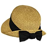Black Sash Straw Cloche Bucket Sun Hat w/ Linen Sash & Bow - Turned Up Brim