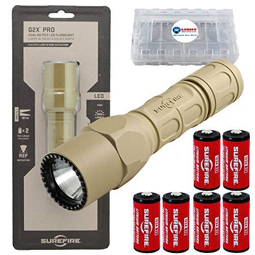 SureFire G2X Pro 600 Lumen Tactical EDC Flashlight Bundle with 4 Extra CR123A Batteries and Lightjunction Battery Case (Tan)
