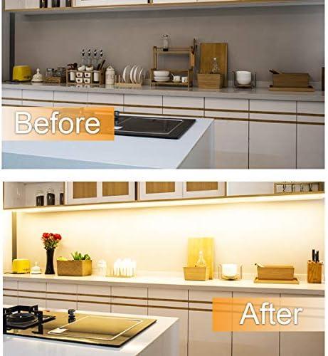 wobsion Under Counter Lights for Kitchen, Under Cabinet Lights Plug in, Under Kitchen Cabinet Lighting,Flexible LED Strip Lights for Kitchen,Pantry,Desk,Shelf,2700K Warm White,6.6 Feet DIY Tape Light 14