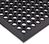 NoTrax Rubber 562 Sanitop Anti-Fatigue Drainage Mat, for Wet Areas, 3' Width x 10' Length x 1/2' Thickness, Black
