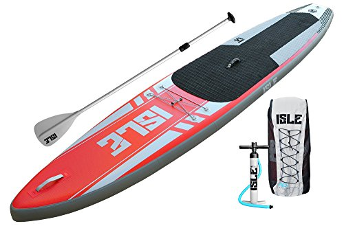 ISLE 12'6 Airtech Inflatable Touring Stand Up Paddle Board (6' Thick) Package | Includes Adjustable Travel Paddle, Carrying Bag, Pump