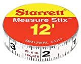 Starrett Measure Stix SM412WRL Steel White Measure Tape with Adhesive Backing, English Graduation Style, Right to Left Reading, 12' Length, 0.5' Width, 0.0625' Graduation Interval