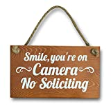 Treasure Trades No Soliciting Sign for House Entry Funny - Door Hanging Sign on Rope Hanger (Smile You're on Camera)