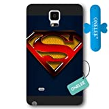 Onelee - Customized Personalized Black Frosted Samsung Galaxy Note 4 Case, Superman Man Of Steel Logo Samsung Note 4 case, Only fit Samsung Galaxy Note 4[Free One Touch Silicone Stand]