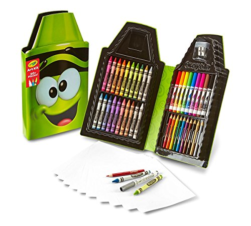 Crayola Tip 50 Piece Art Kit, Electric Lime Art Gift for Kids 5 & Up, Includes Crayons, Pip-Squeaks Markers, Colored Pencils, Paper Sheets & Dual-Purpose Sharpener In Crayola Tip Character Travel Case