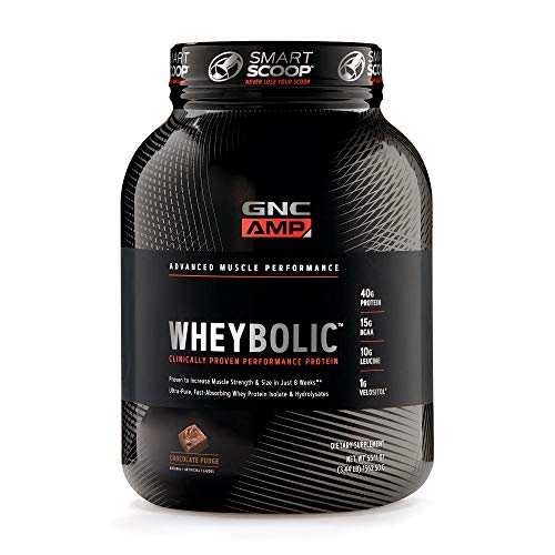 GNC AMP Wheybolic Whey Protein Powder, Chocolate Fudge, 25 Servings, Contains 40 Protein, 15g BCAA, and 10g Leucine Per Serving